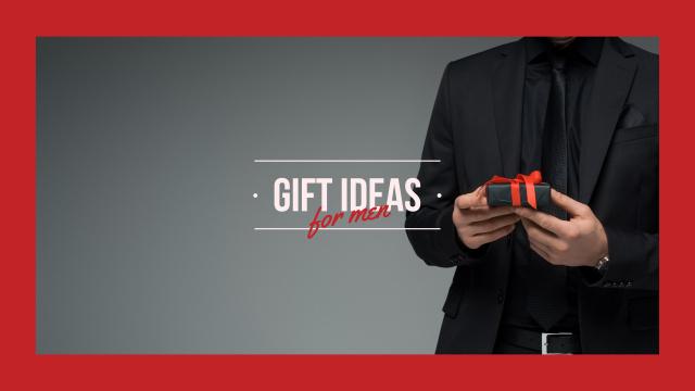 Man in suit holding Gift Youtube Modelo de Design