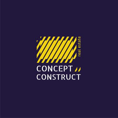 Construction Company Ad with Yellow Lines Texture Logo Modelo de Design