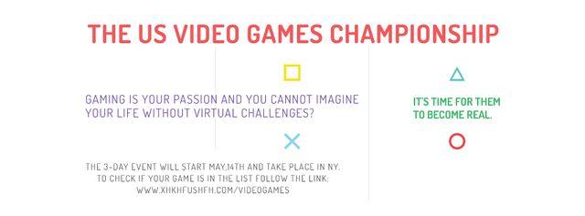 Ontwerpsjabloon van Facebook cover van Video games Championship
