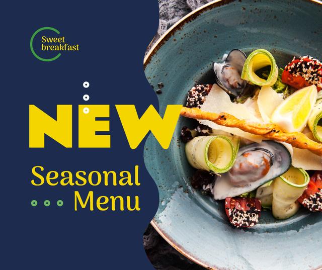 Designvorlage Seasonal Meal with greens and Vegetables für Facebook