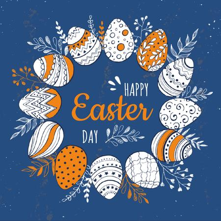 Designvorlage Coloured Easter eggs in Circle für Animated Post