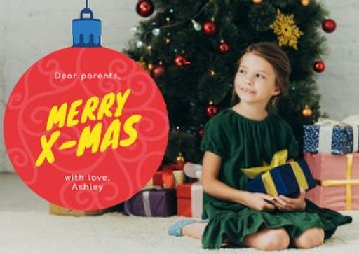 Merry Christmas Greeting With Little Girl With Presents