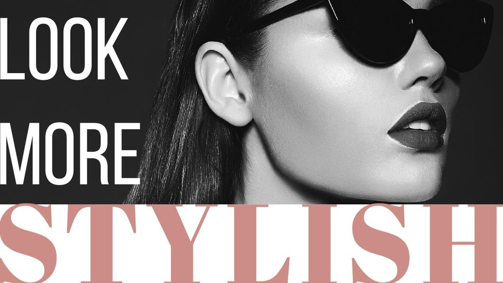 Sunglasses Ad Beautiful Girl in Black and White — Create a Design