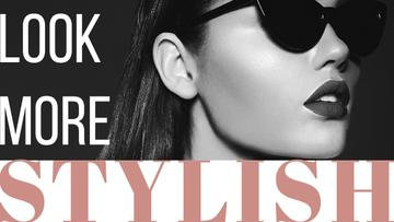 Sunglasses Ad Beautiful Girl in Black and White | Youtube Thumbnail Template