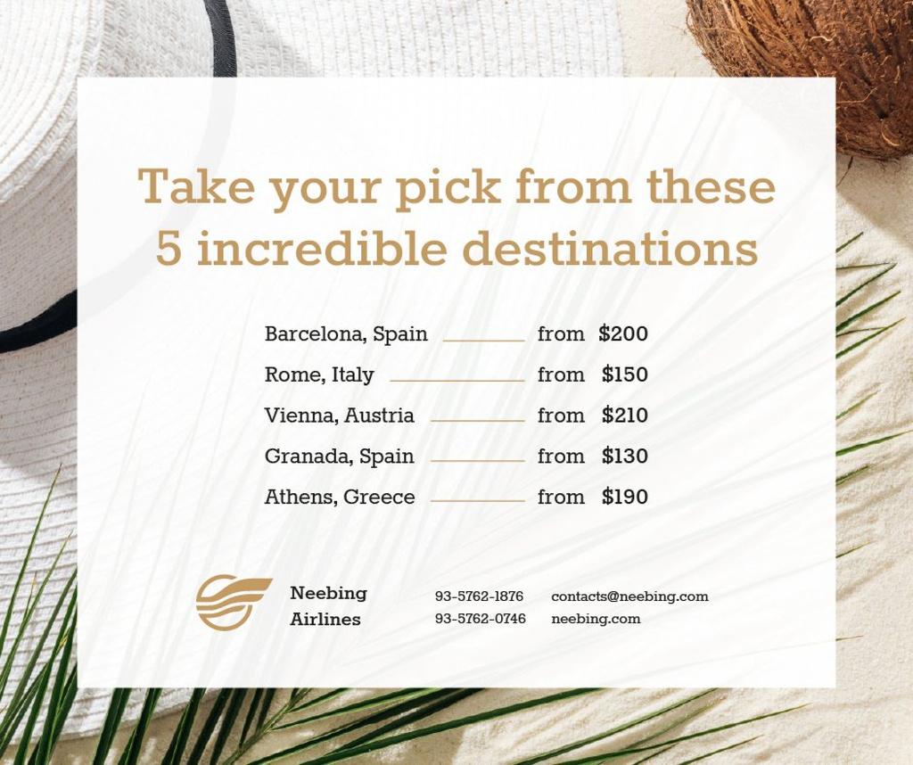 Plantilla de diseño de Travelling Tours Offer Palm Leaf and Straw Hat Facebook