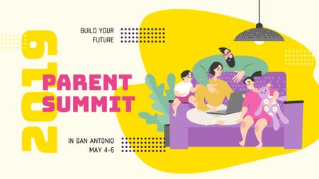 Parenting Summit announcement Family spending time together FB event cover Modelo de Design