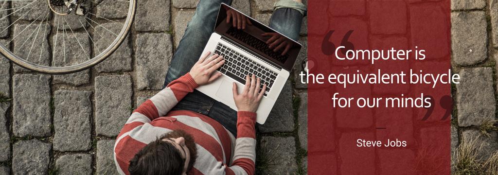 Computer Quote Man Typing on Laptop — Maak een ontwerp