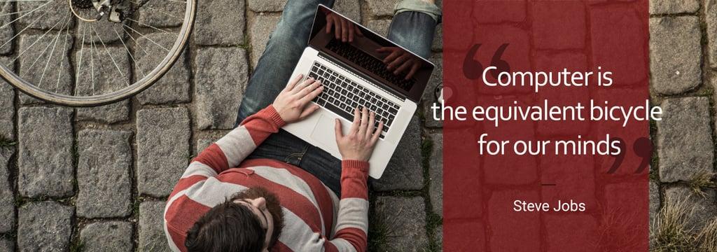 Computer Quote Man Typing on Laptop — Створити дизайн