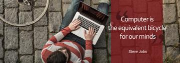 Computer Quote Man Typing on Laptop | Tumblr Banner Template