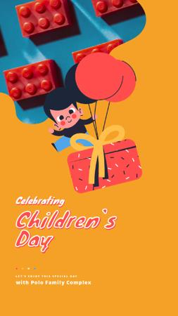 Plantilla de diseño de Children's Day Greeting Happy Kid with Gift Instagram Video Story