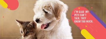 Pets Quote Cute Dog and Cat | Facebook Cover Template