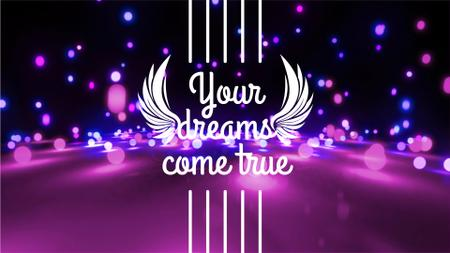 Dreams Quote Glowing Bubbles Falling in Purple Full HD video – шаблон для дизайну