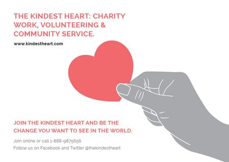 Plantilla de diseño de Charity event Hand holding Heart in Red Postcard