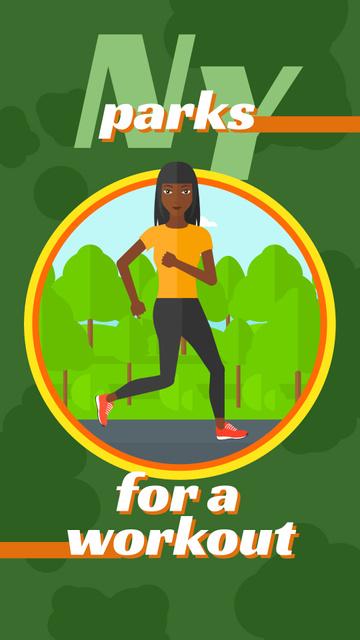 Ontwerpsjabloon van Instagram Story van Woman running in park
