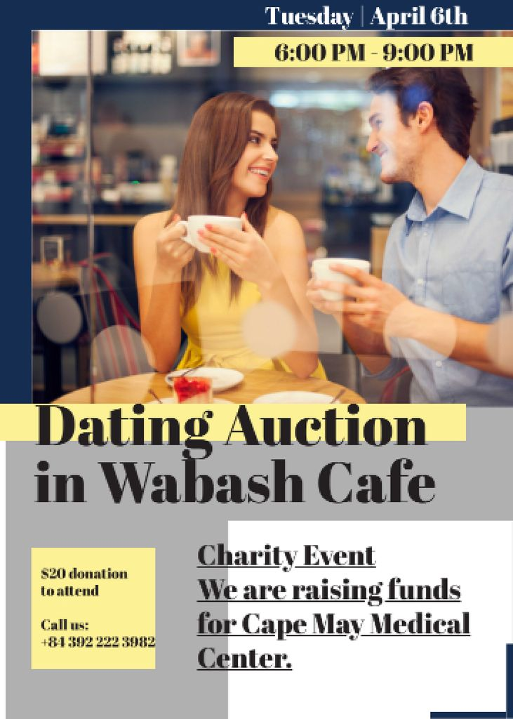 Smiling Couple at Dating Auction Flayer – шаблон для дизайна