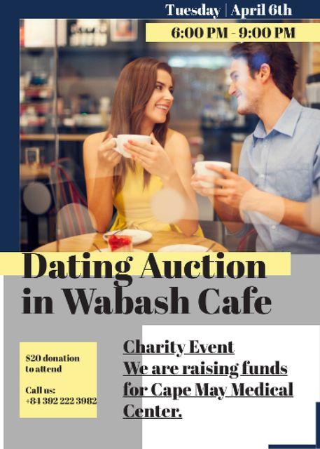 Smiling Couple at Dating Auction Flayer – шаблон для дизайну