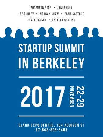 Startup Summit Announcement Businesspeople Silhouettes Poster US – шаблон для дизайну