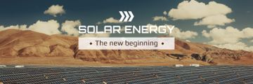 Green Energy Solar Panels in Desert | Twitter Header Template