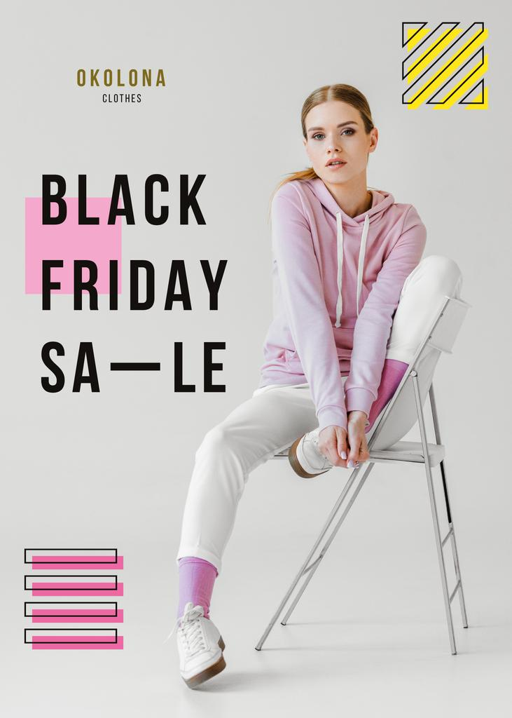 Black Friday Sale girl in Light Clothes — Создать дизайн