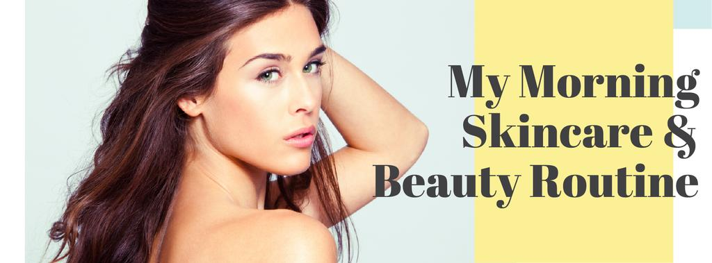 Skincare Routine Tips Woman with Glowing Skin | Facebook Cover Template — Crea un design