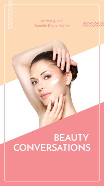 Ontwerpsjabloon van Instagram Story van Woman applying Cream for cosmetics sale