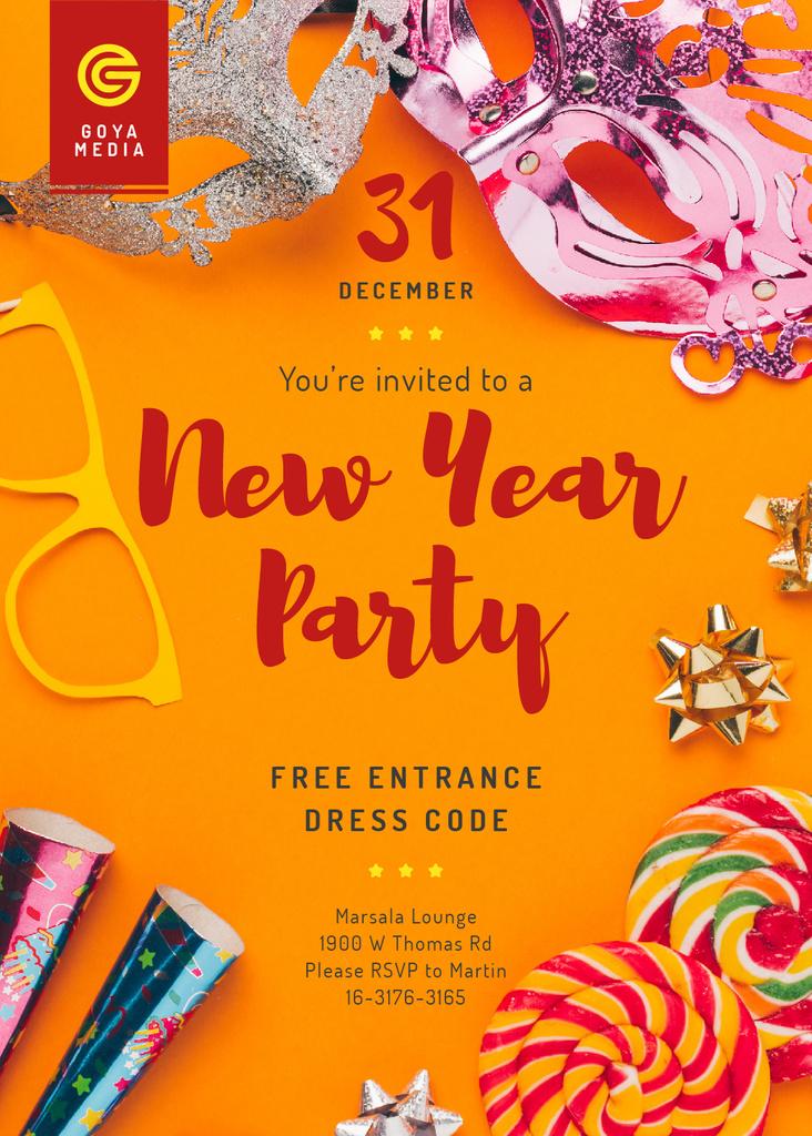 New Year Party Invitation Shiny Decorations | Invitation Template — Crear un diseño
