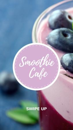 Ontwerpsjabloon van Instagram Story van Smoothie Cafe Advertisement Blueberries Drink