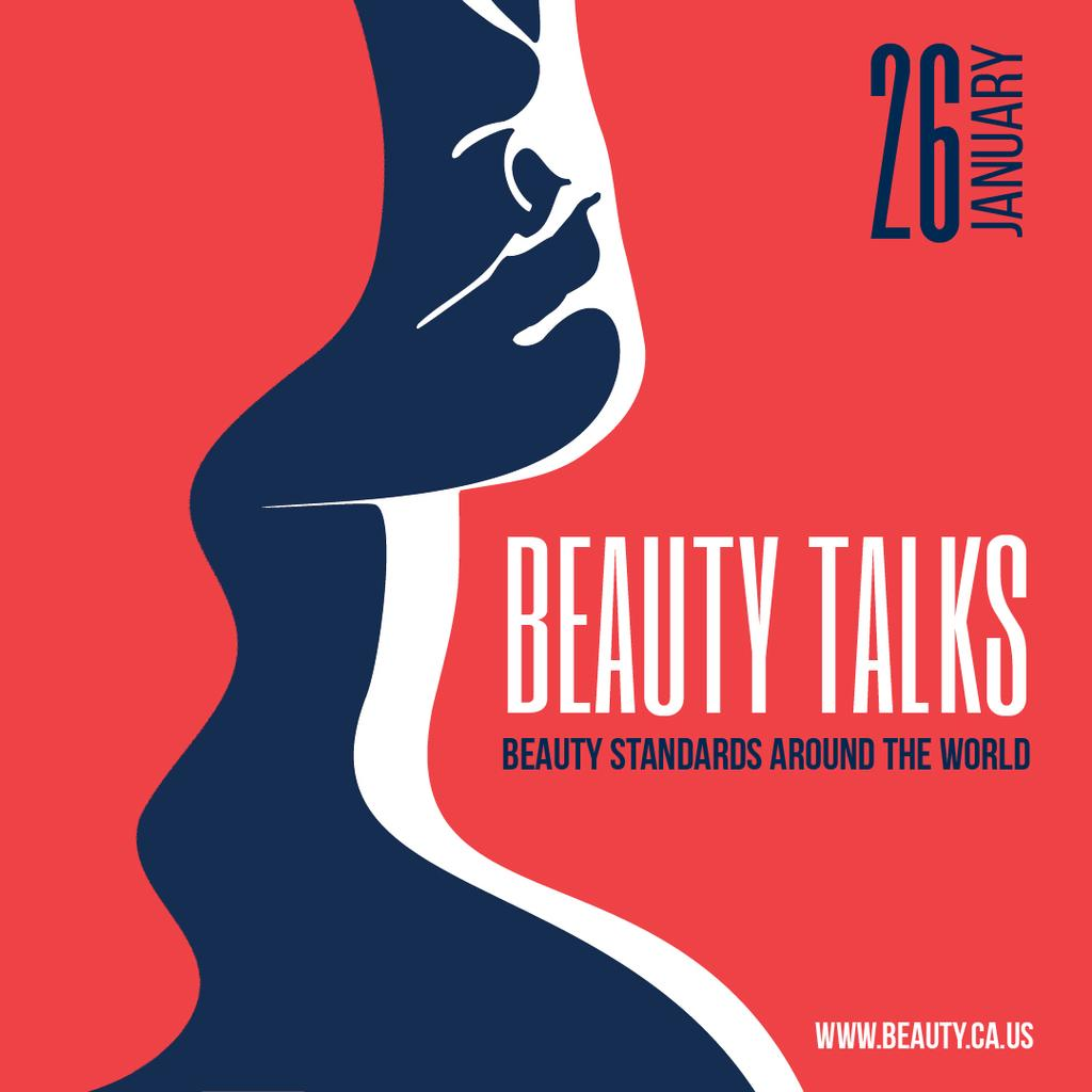 Beauty Talks Announcement with Creative Female Portrait — Modelo de projeto