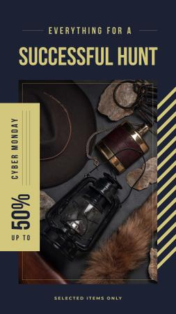 Modèle de visuel Cyber Monday Sale Vintage style travel kit - Instagram Story