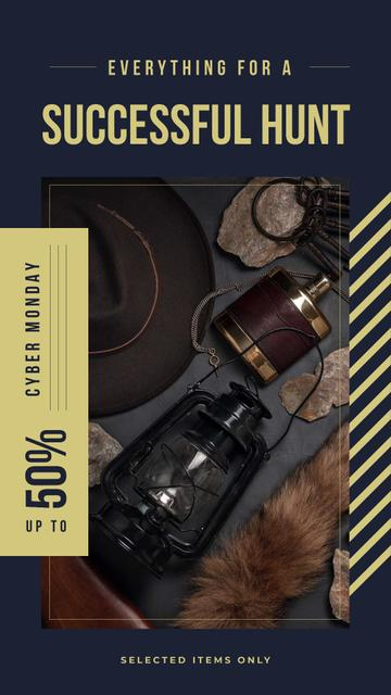 Cyber Monday Sale Vintage style travel kit Instagram Story Design Template