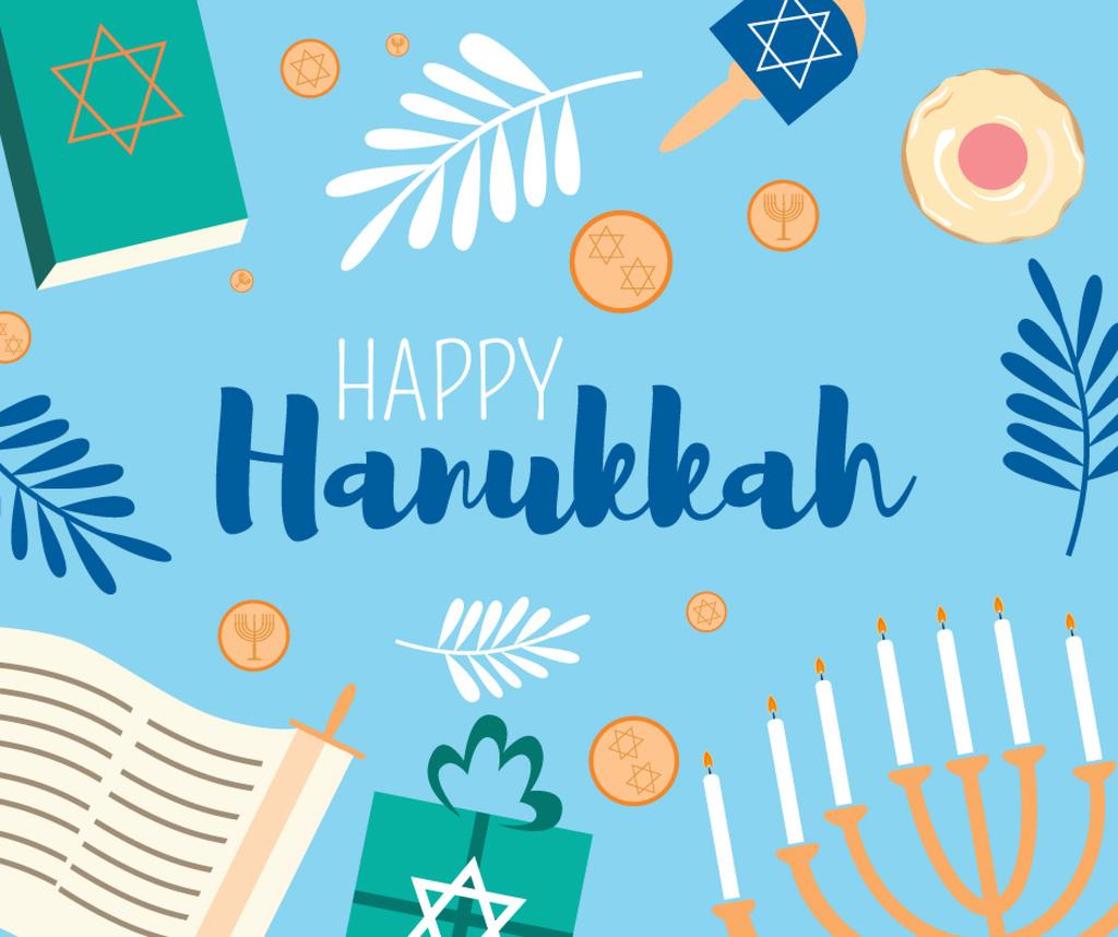 Happy Hanukkah Greeting with Menorah and Torah — Create a Design