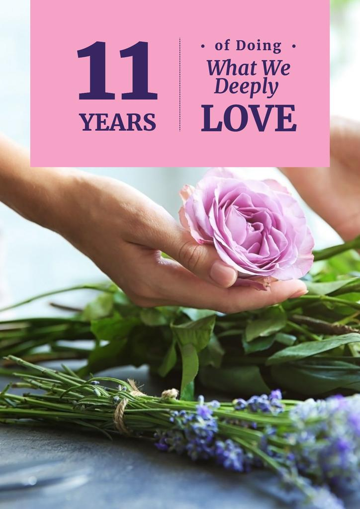 Birthday card of florist company Poster Design Template