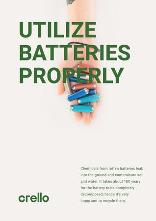 Utilization Guide Hand Holding Batteries Poster Modelo de Design