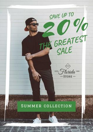 Ontwerpsjabloon van Poster van Fashion sale Ad with Stylish Man