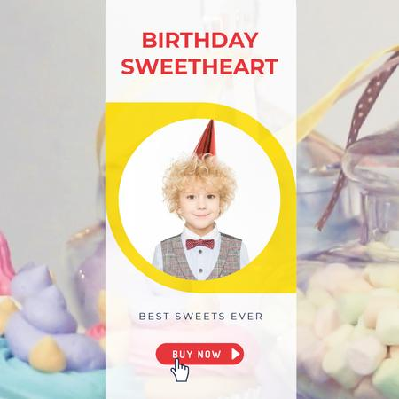 Ontwerpsjabloon van Animated Post van Birthday Sweets Offer with Happy Boy