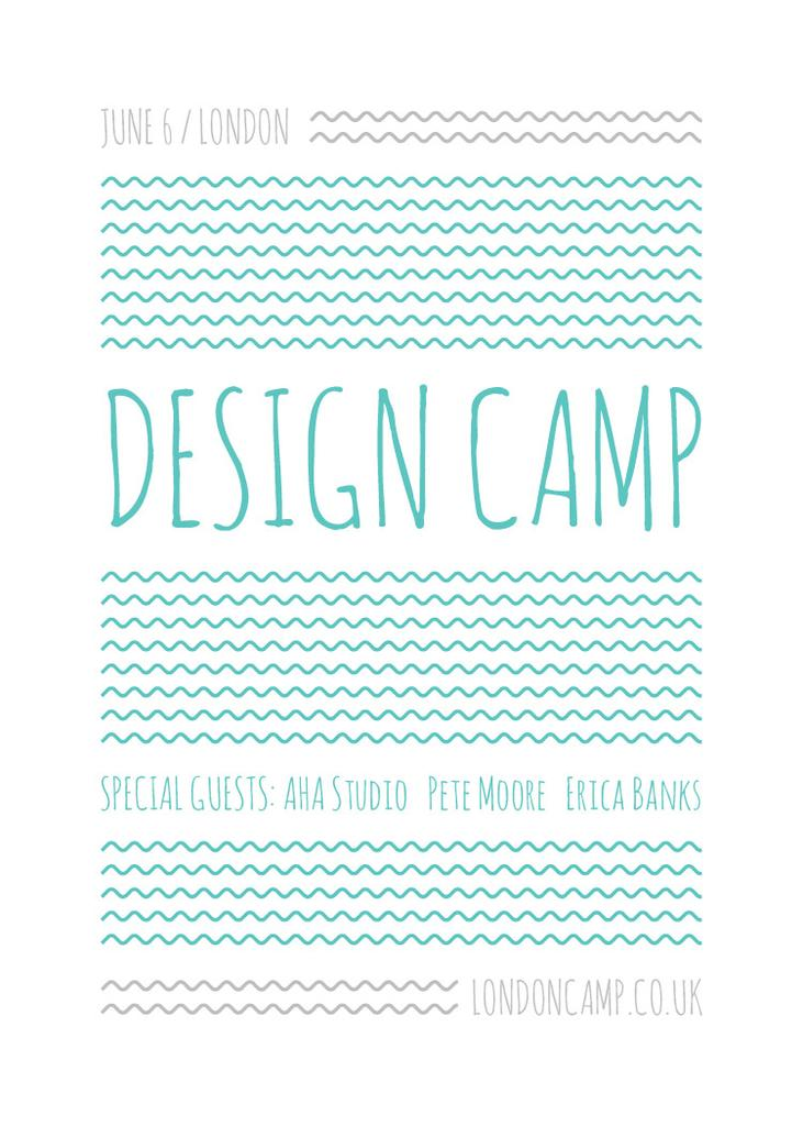 Design camp announcement on Blue waves — Modelo de projeto