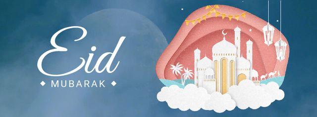 Plantilla de diseño de Eid Mubarak White Mosque Facebook Video cover