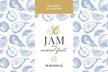 Natural Jams ad on Fruits pattern