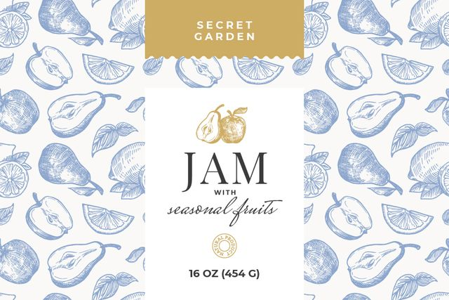 Natural Jams ad on Fruits pattern Label Design Template