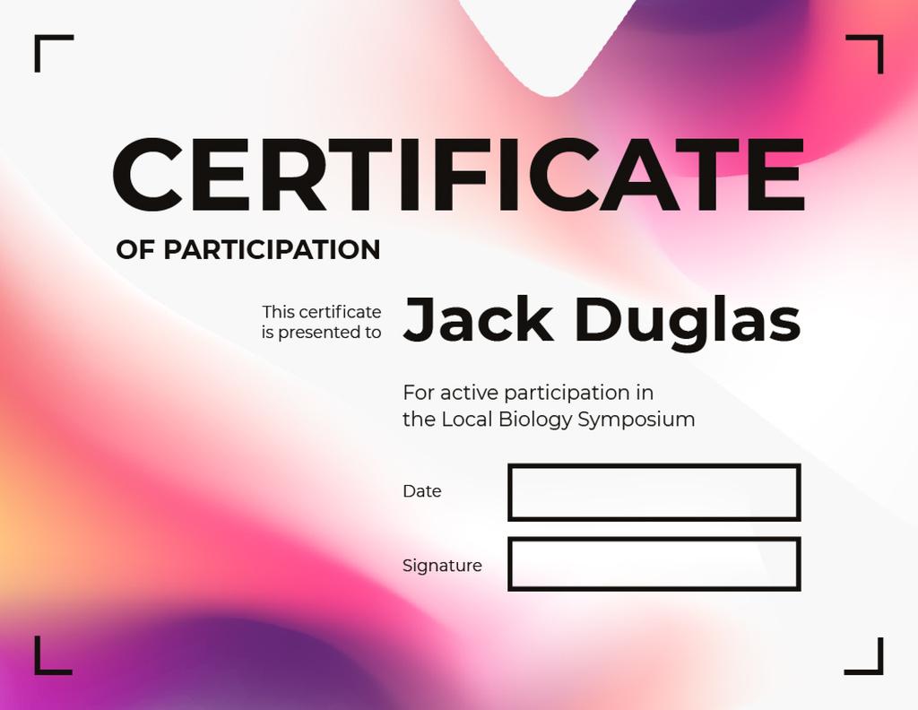 Biology Symposium Participation gratitude in Pink — Crear un diseño