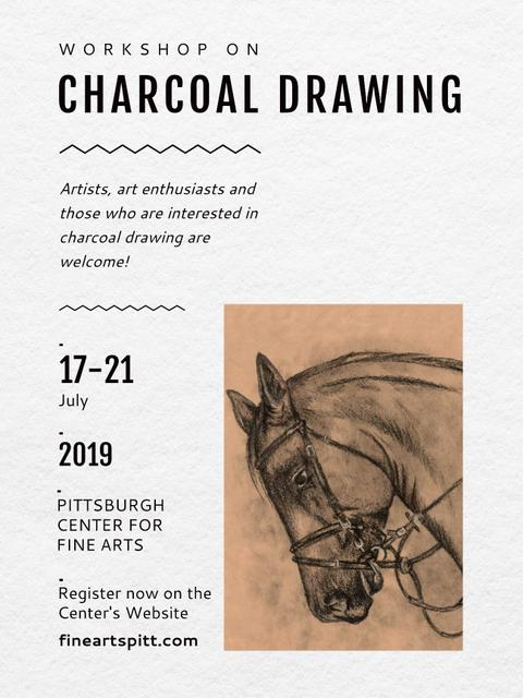 Drawing Workshop Announcement Horse Image Poster US Design Template