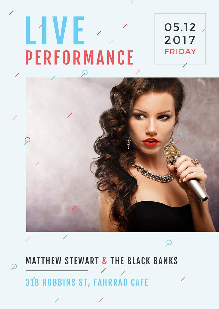 Live performance poster with gorgeous female singer holding microphone — Create a Design