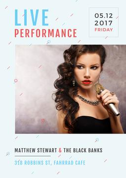 Live performance poster with gorgeous female singer holding microphone