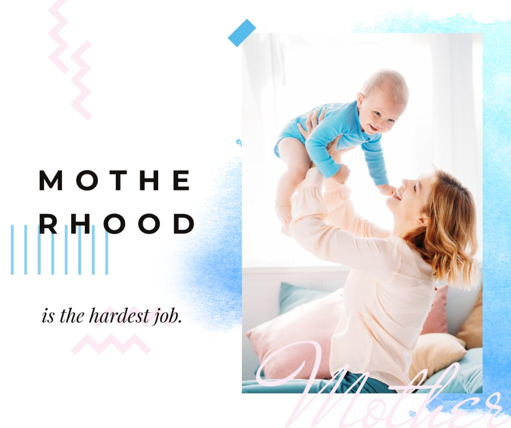 Plantilla de diseño de Motherhood Inspiration Mother with Baby in Blue Facebook