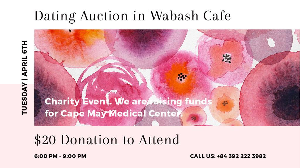 Dating Auction announcement on pink watercolor Flowers — Modelo de projeto