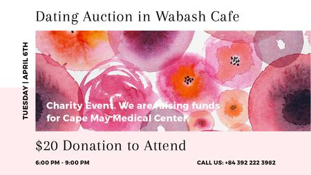 Szablon projektu Dating Auction announcement on pink watercolor Flowers Title