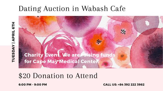 Ontwerpsjabloon van Title van Dating Auction announcement on pink watercolor Flowers