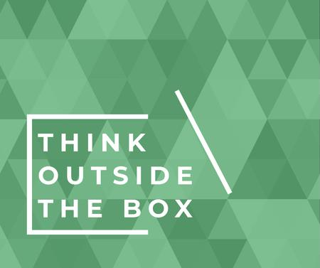 Think outside the box quote on green pattern Facebook Modelo de Design