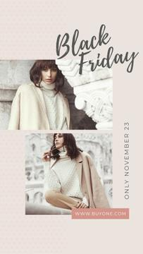 Black Friday Sale Stylish woman in winter clothes