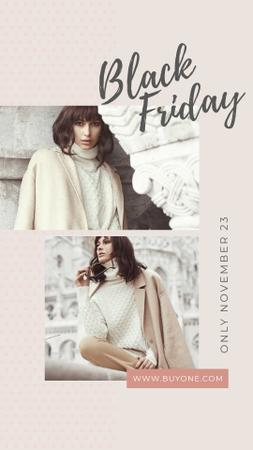 Black Friday Sale Stylish woman in winter clothes Instagram Story Modelo de Design